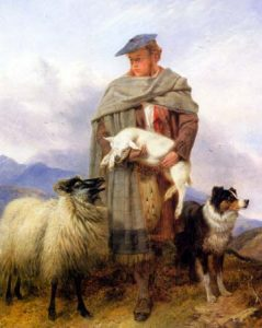 highland_shepherd_with_ewe_lamb_dog